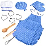 BELUPAI Chef Set for Kids, Boys Girls Apron Set, 11 Pcs Cooking Play Set Chef Hat Manual DIY Baking Tools for Toddler Career Role Play Children Pretend Play Children Gift