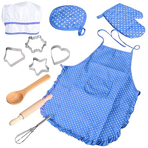 BELUPAI Chef Set for Kids, Boys Girls Apron Set, 11 Pcs Cooking Play Set Chef Hat Manual DIY Baking Tools for Toddler Career Role Play Children Pretend Play Children Gift -