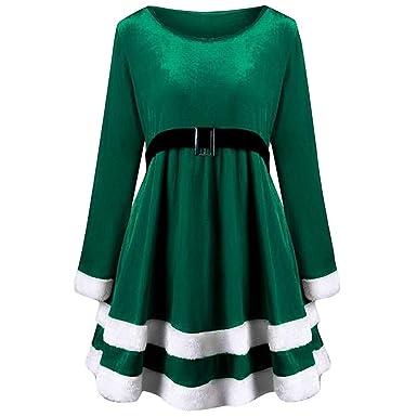 48f9a83c6e88be ODJOY-FAN Mode Damen Langarm Rundhals Kleid, Fröhlich Weihnachten Samt  Kleid Langeärmel O Ausschnitt