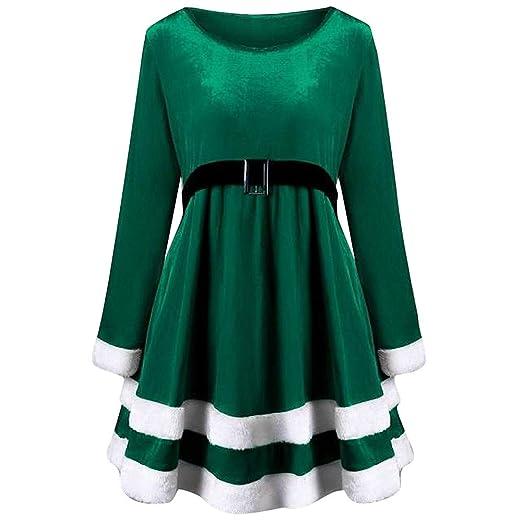 Amazon.com  Caopixx Women Dress Merry Christmas Velvet Long Sleeve O-Neck  Party Dress Flare Swing Dress A Line Dress  Clothing df3cc1ddd