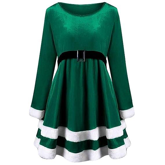 Sweatshirt Cosplay Hoher Santa Frashing Samtkleid Weihnachtsdekoration Langärmeliges Kleid Rundhalsausschnitt Weihnachtskostüm Taille Mit q534RjAL