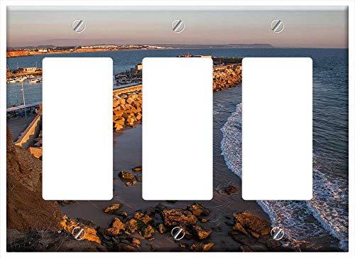 Switch Plate Triple Rocker/GFCI - Body Of Water Sea Costa Beach Sunset Fishing Port