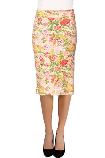 2d5dd8e28ace6 Women s Printed Below the Knee Pencil Skirt for Office Wear - Made in USA  Light Pink