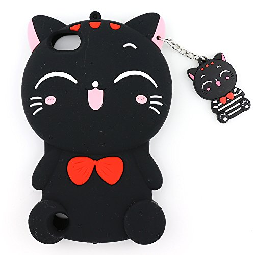 iPod Touch 6 Case, iPod Touch 5 Case, 3D Cute Cartoon Lucky Fortune Cat Kitty Shaped Soft Rubber Silicone Shockproof Case Protector Skin Cover for iPod Touch 6th / 5th Generation (Black Cat)