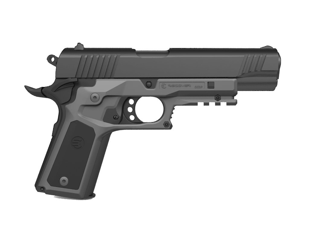 ReCover Tactical CC3P Grip and Rail System with Changeable Panels for The 1911 (Phantom Grey with 2 Sets of Grip Panels) by Recover Tactical
