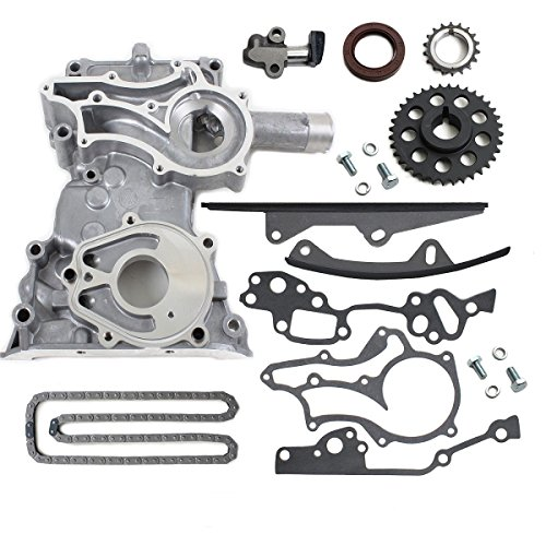 85-95 TOYOTA PICKUP 22RE 2.4L TIMING COVER CHAIN KIT + 2 HD STEEL GUIDES & BOLTS (22RE/REC) (Timing Bolts Chain Cover)