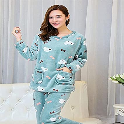 MH-RITA Otoño Invierno Mujer Pijama fijar mucho más gruesa franela Camisones Pijamas Pijama de