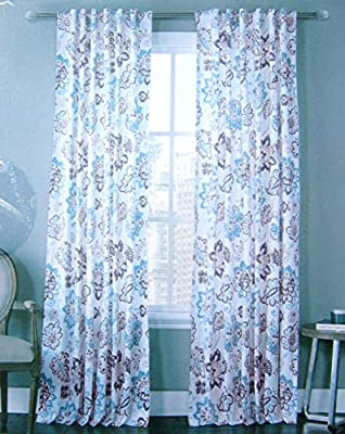 Envogue Floral Paisley Scrolls Window Panels Set of 2 Floral Paisley Scrolls 100% Cotton Window Curtains Hidden Jacobean Flowers Tabs Navy Blue Turquoise Teal 50-by-96-inch