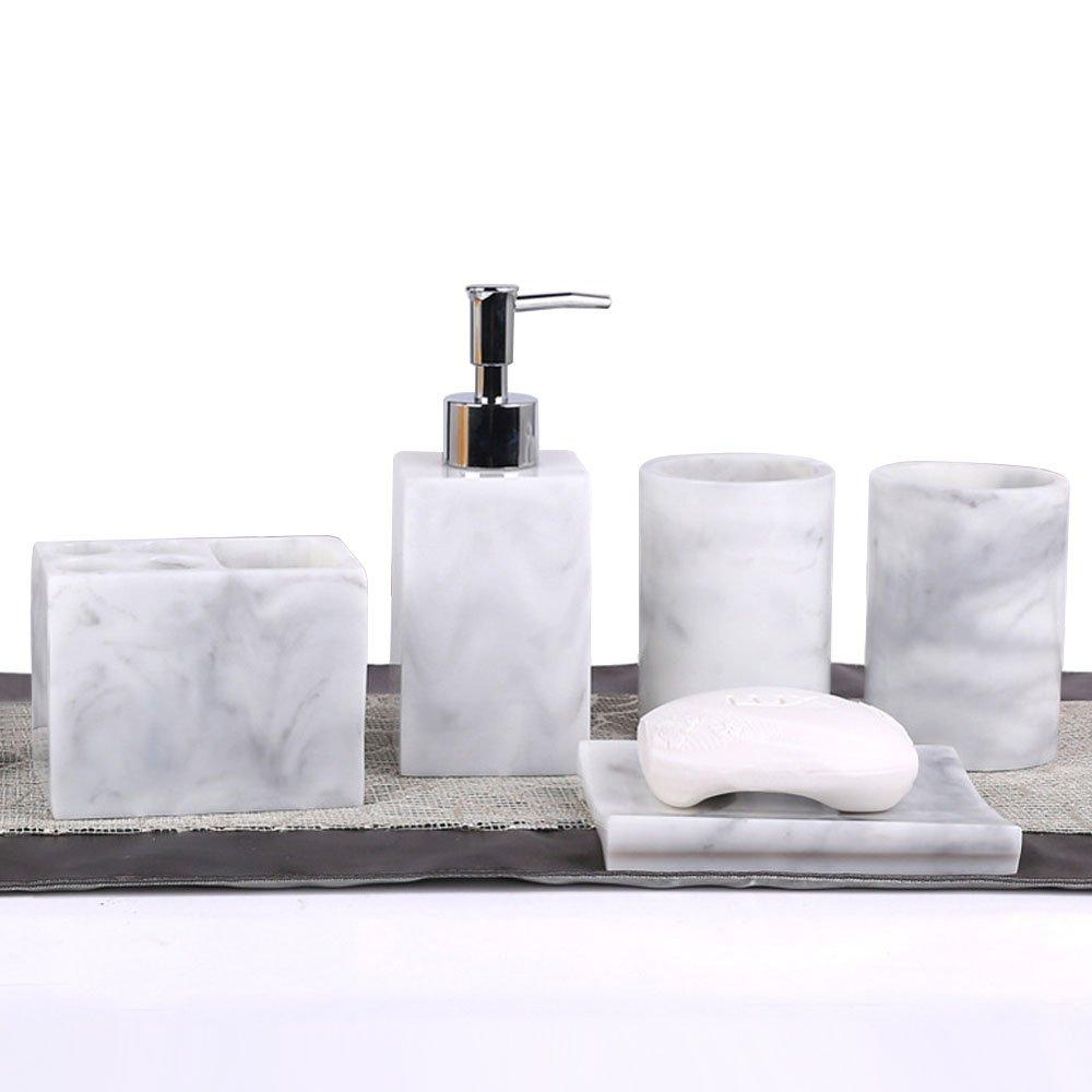 5pcs Bathroom Accessory Set - Tumbler, Soap Dish, Liquid Soap Dispenser, Toothbrush Holder,Grey LUANT