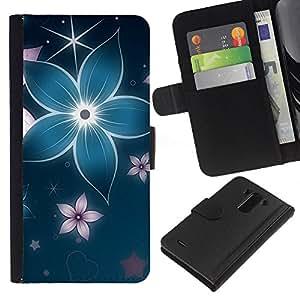 KingStore / Leather Etui en cuir / LG G3 / Floral pétalo de la flor de la estrella azul iridiscente