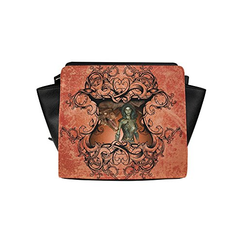 Fashion Design Best Friends Dragon With Fairy Satchel Bag (model 1635) Angelakochhappy