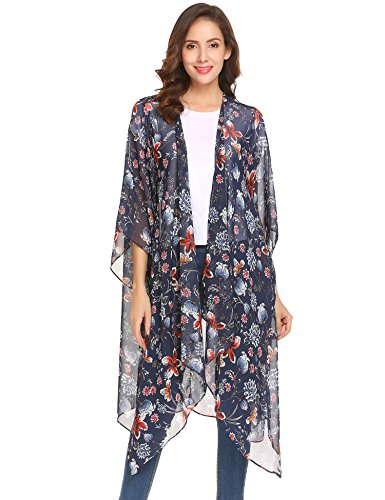 Floral Print Kimono Dress (Showyoo Women's Boho Floral Print Open Front Kimono Cardigan Beachwear Cover up Navy Blue S)