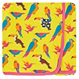 Kickee Pants Little Girls Print Swaddling Blanket - Banana Tropical Birds, One Size