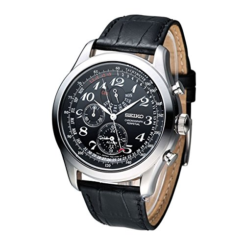 Seiko Neo Classic Chronograph Black Dial Black Leather Mens Watch ()