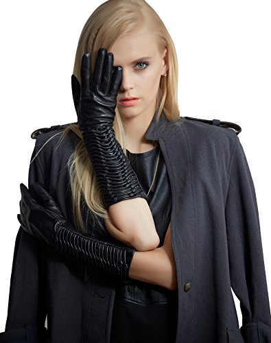 Fioretto Womens Driving Leather Gloves Long Winter Italian Lambskin Leather Evening Dress Gloves Sleeves Viscose Lined Ruched Elbow Length Costume Black (Easy Costume Ideas With A Black Dress)