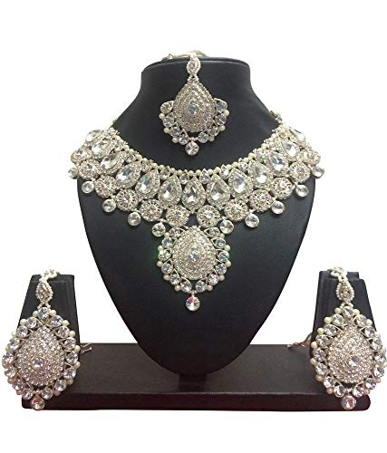 (CROWN JEWEL Indian Bollywood Style Rose Gold Plated Bridal Fashion Jewelry Necklace Set (White))