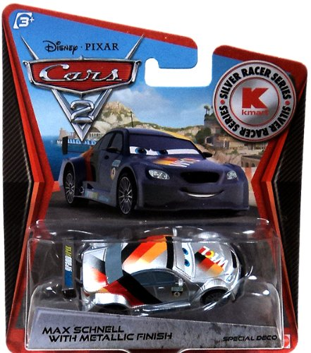 Disney PIXAR Cars 2 Max Schnell With Metallic Finish Silver Racer Series Silver Racer Series