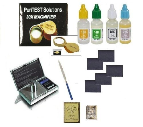 - Complete Gold Testing Kit with 4 Bottles Test Acid 10k 14k 18k 22k, Stones, Eye Loupe, File, and FREE mini gold bars