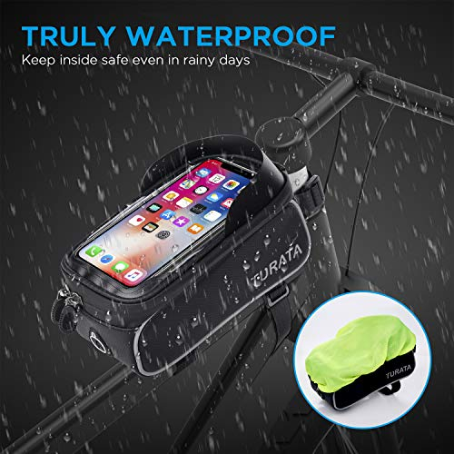 TURATA Bike Bags Bicycle Front Frame Bag Waterproof Handlebar Cycling Top Tube Pannier Touch Screen Sun Visor Large Capacity Mobile Phone Holder Fits Phones Below 6.5 Inches