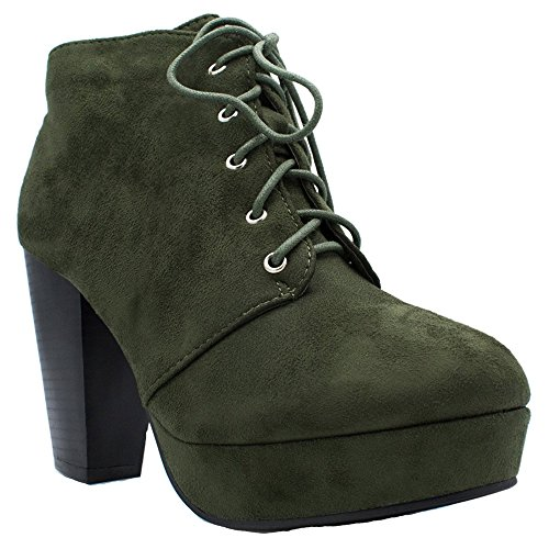 Forever Camille-86 Frauen Komfort Stapeln Chunky Heel Lace Up Ankle Booties Olive*