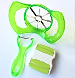 Jumbo Apple Slicer Set of 3 - Apple Corer Slicer Peeler - Julienne Vegetable Peeler With Stainless Steel Blades - Apple Peeler- 3 Colors - Gift Packaging (Green)