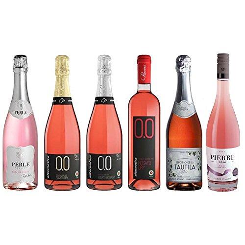 Rose Wine Assortment - Six (6) Non-Alcoholic Wines - Perle Rosé, Zero Rosé, Bollicine Rosato Dry, Bollicine Rosato Extra Dry, Rosato Dry, and Espumoso Rosado