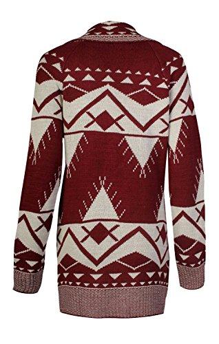 Fast Fashion Chaqueta de punto para mujer, diseño con estampado azteca, de leopardo y corazones vino, (Aztec Wine)
