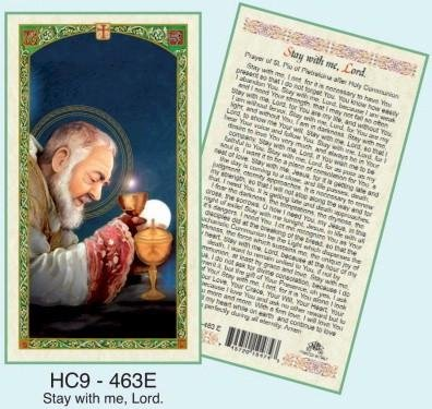 - Prayer After Communion (Stay with me Lord) Padre Pio Laminated Prayer Cards - Pack of 25 - HC9-463E