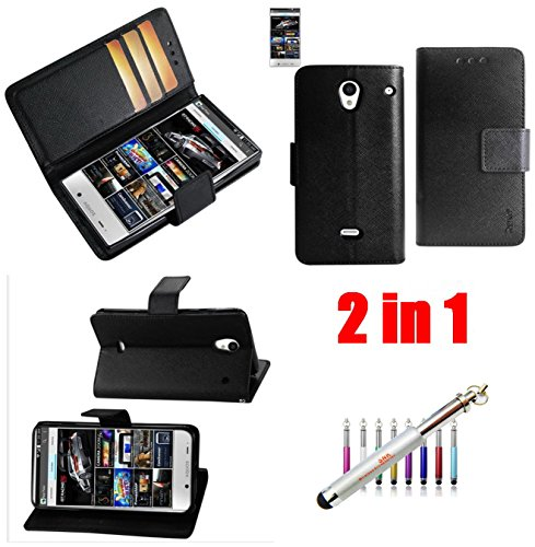 (BLACK) 2IN1 WALLET CASE FITTING COVER CASE FOR Sharp Aquos Crystal (306SH)-INTERIOR LEATHER-LIKE MATERIAL AND POLYMER COVER - Carrying Case - Retail Packaging+New SNK Stylus Touch Pen