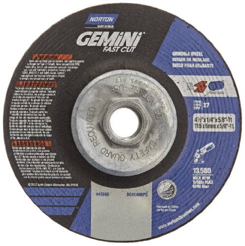"Norton Gemini Fast Cut Depressed Center Abrasive Wheel, Type 27, Aluminium Oxide, 5/8""-11 Hub, 4-1/2"" Diameter x 1/4"" Thickness   (Pack of 10)"