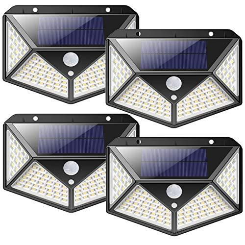 iPosible Solarlampen voor buiten, 2200 mAh, super energiebesparend, 100 leds, zonnelamp met bewegingsmelder, 270 graden…