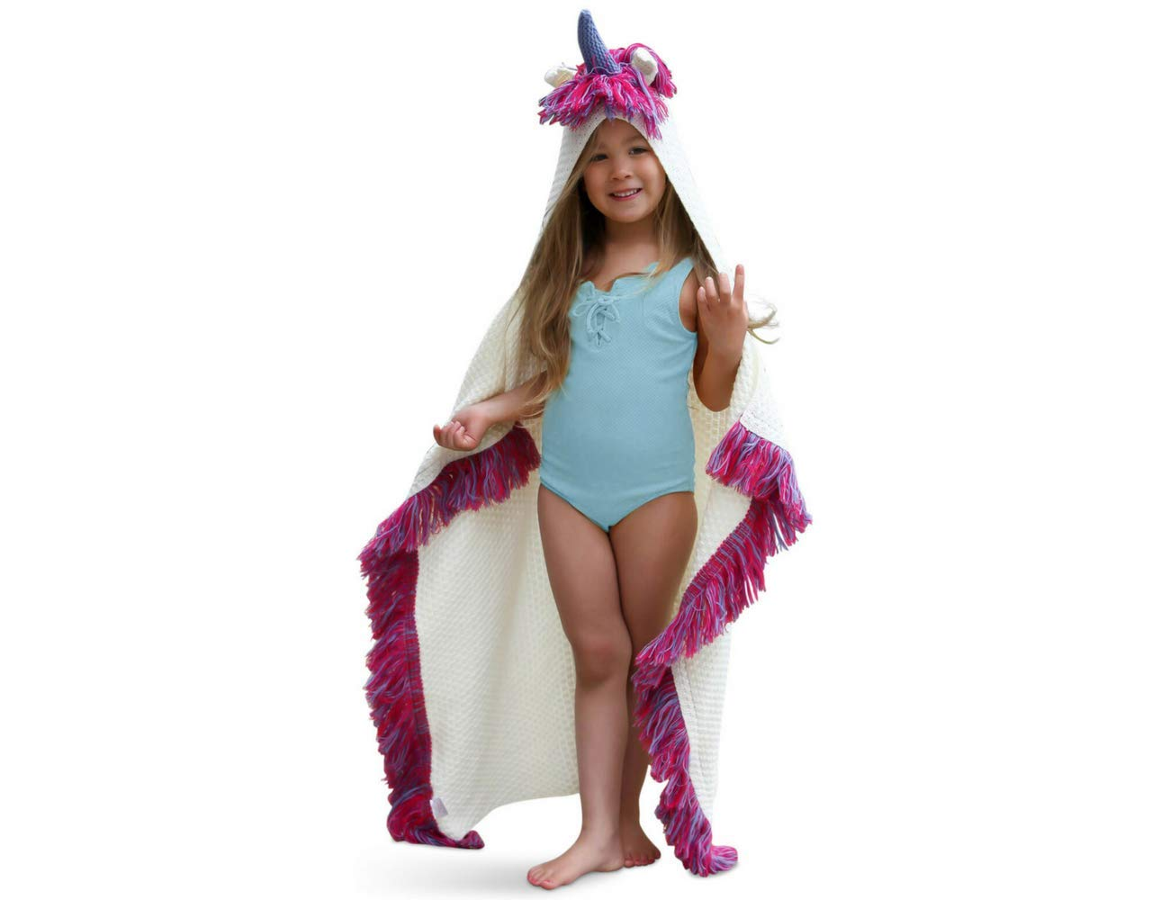 Born To Unicorn Blanket for Girls- Hooded, Kids Pink, Purple Wearable Crochet Knit w/Hood Throw Blankets Wrap, Toddlers Cute Plush Knitted Hoodie, Soft Kids Blanket Gift, Cozy Magic Cloak w/Hood by Born To Unicorn (Image #1)