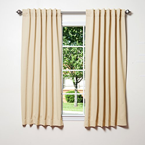 Best Home Fashion Thermal Insulated Blackout Curtains – Back Tab/ Rod Pocket – Beige – 52″W x 63″L – (Set of 2 Panels)