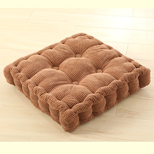 C.CTN Breathable Square Corduroy Malinda Chair Cushion(Brown Large) (Large Chair Slipcover)