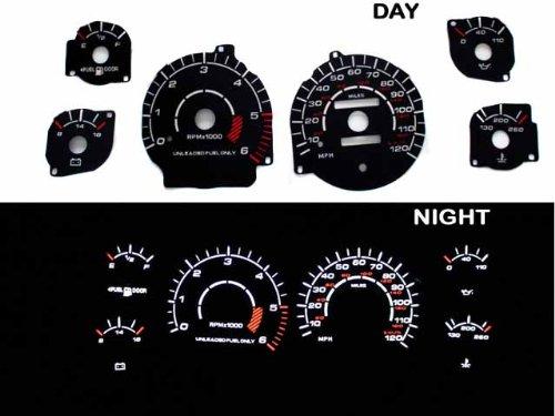 94-97 Dodge Ram Reverse Black Gauges White indiglo kit Black Reverse Glow Gauge