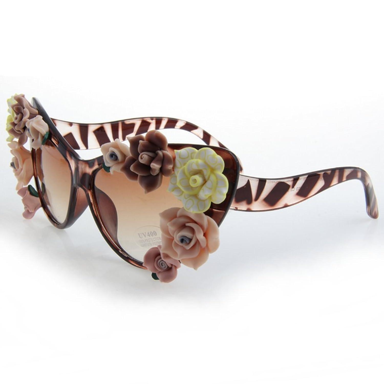 LuxuryEye Flower Leopard Sexy Fashion Summer Equipment Cute Women Girl Sunglasses