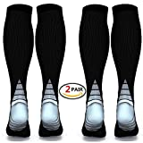(2 pairs) Compression Socks / Stockings for Men & Women,Better Blood Circulation, Prevent Blood Clots, Speed Up Recovery BEST Graduated Athletic Fit for Running, Nurses,Medical Use,Shin Splints, Flight Travel, & Maternity Pregnancy. Boost Stamina,Circulation, Reduced Fatigue
