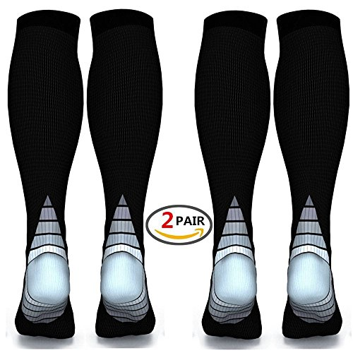 Compression Socks (2 pairs) for Women & Men Medical, fit for Running, Athletic Sports, Flight, Travel, relieve Varicose Veins, Boost Stamina and Enhance Circulation and Recovery (Gray, L/XL) -