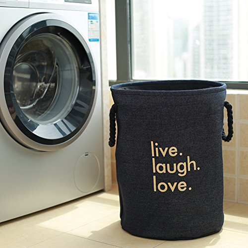 Thicken linen laundry hamper,Household storage bin storage basket fold laundry basket for college dorm-C 35x45cm(14x18inch) by AMYDREAMSTORE (Image #3)
