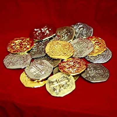 Large Metal Pirate Treasure Coins - 20 Gold and Silver Doubloon Replicas