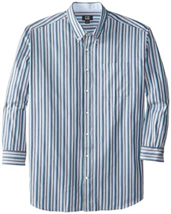 Cutter & Buck Men's Big-Tall Long Sleeve Low Tide Stripe Shirt, Multi, Large/Tall