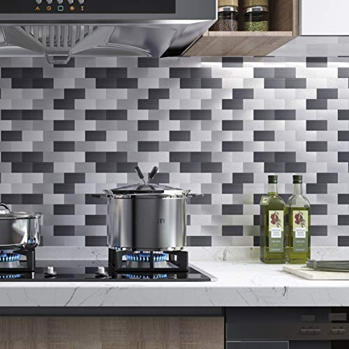 Peel And Stick Tile Backsplash Kitchen Stainless Steel 13 3 X 11 8 5 Sheets In Light Metal Pricepulse