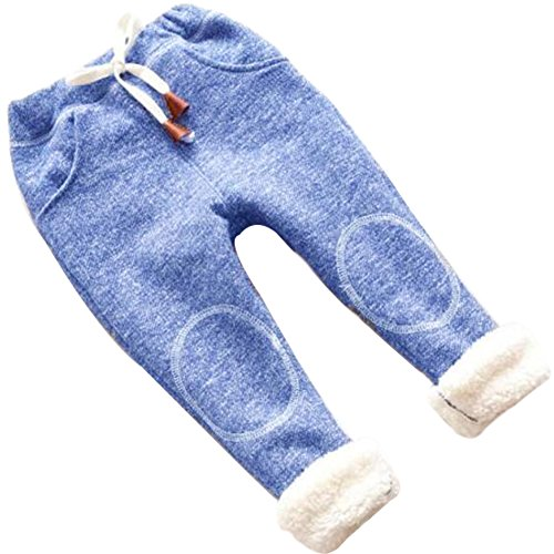 Lined Pants Trousers - UNIQUEONE Kids Baby Boys Girls Winter Warm Pants Thick Fleece Leggings Trousers size 3Years/Tag110 (Blue)