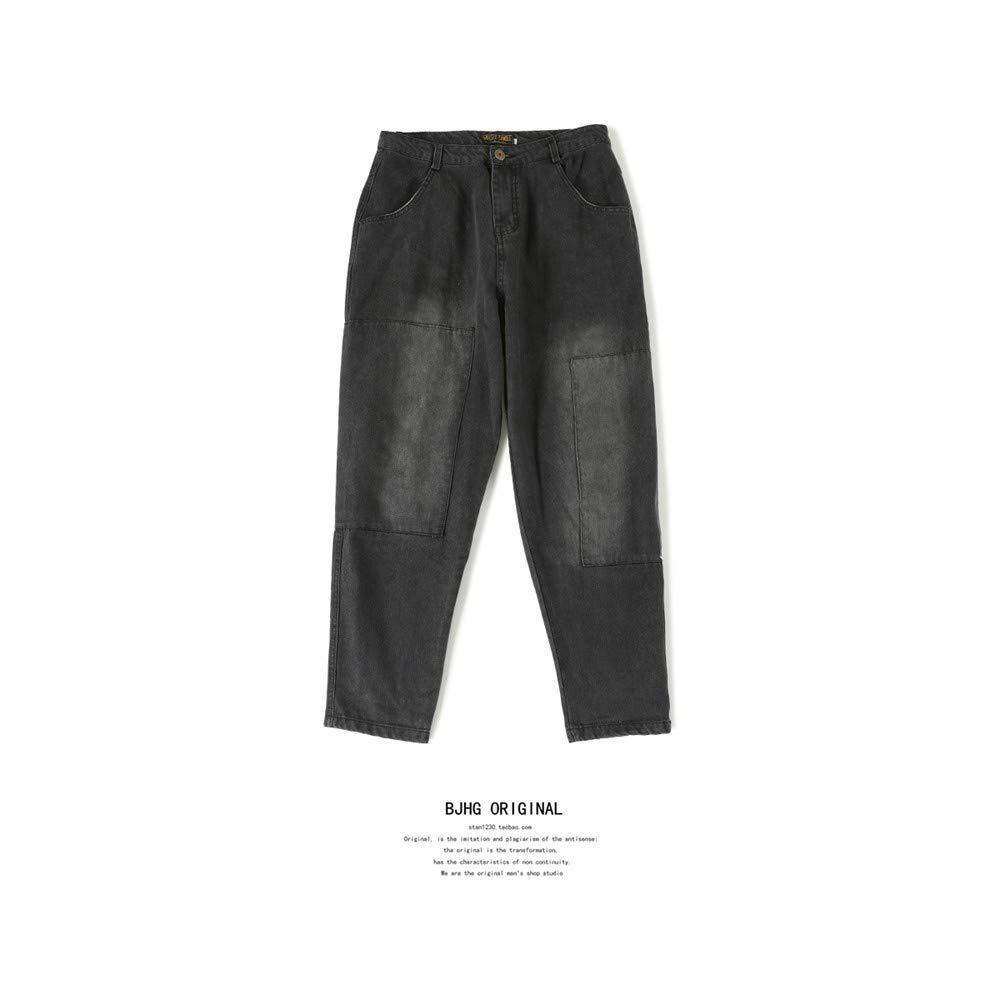 EVEORSSRA Jeanshosen Hip Hop lose Splash Ink Print Legged Bettler Jeans Tide Mann breites Bein Haren Nine Leg Pants