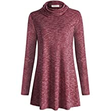 MOQIVGI Women's Cowl Neck Long Sleeve Casual Marled Tunic Tops