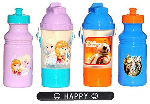 SET OF 4 CUPS FunKups Disney Frozen Elsa Anna Star Wars BB 8 Snack Tumbler Plastic Lid & Straw Water Bottle Gift Set Idea for Kids HAPPY Slapstick (Easter Snack Ideas)