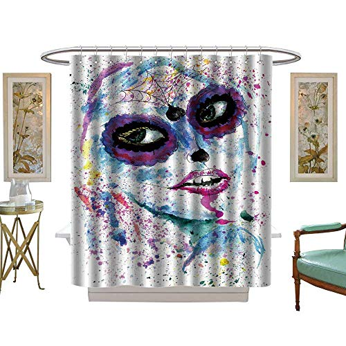 luvoluxhome Shower Curtains Fabric Halloween Girl with Sugar Skull Makeup Watercolor W36 x L72 Fabric Bathroom Set with Hooks -