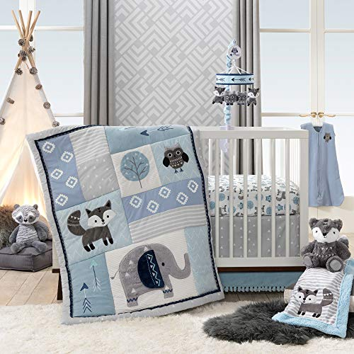 Lambs & Ivy Stay Wild Animal Arrow 4 Piece Crib Bedding Set, Gray/Blue