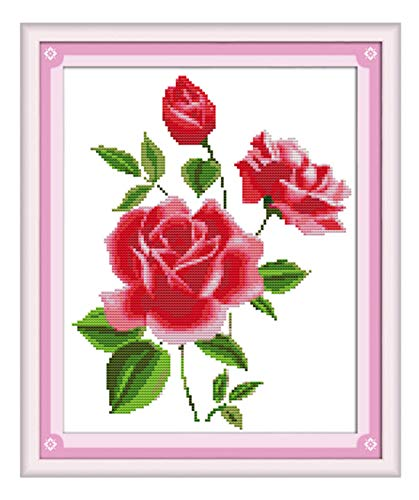 (eGoodn Cross Stitch Stamped Kit Pre-Printed Pattern Amorous Roses, 11CT Aida Fabric Size 14.6