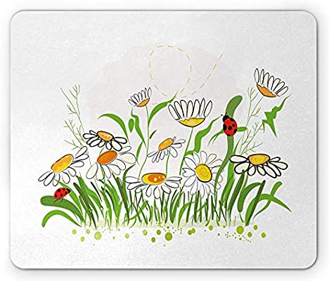 Nature Mouse Pad Spring Flowers Chamomiles Daisy Field With